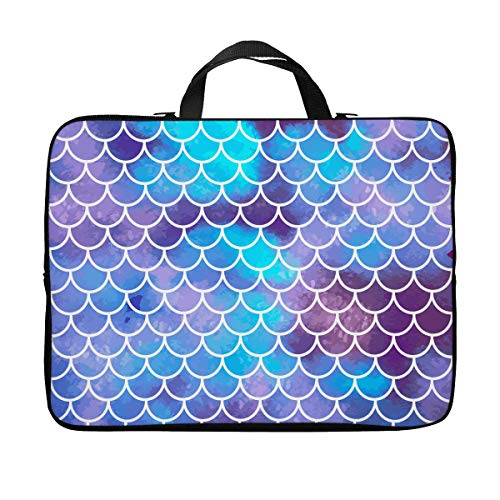 Britimes Laptop Case 15.6 inch, Colorful Mermaid Scales Ocean Underwater Colorful Fish Tail Vintage Neoprene PC Computer Sleeve Waterproof Notebook Handle Carrying Bag