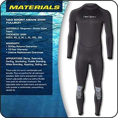 NeoSport Wetsuits Men's Premium Neoprene 5mm Full Suit, Black, Medium - Diving, Snorkeling & Wakeboarding