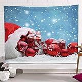 QYQS Tapicería De Modelo De Bola De Navidad Estéreo 3D, Tapiz De Pared para Dormitorio, Tecnología De Impresión HD Cortinas De Tapicería, Fácil De Cuidar(Size:130x150cm/51x59in)