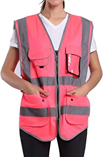 High Visibility Pink Safety Vest For Women | Hi Vis Vest With Zipper And Pockets | Mdedium Construction Vest With Reflecti...
