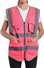 Large Pink Safety Vest For Women   Hi Vis Vest With Reflective Stripes  Surveyor Reflective Vest With Pockets And Zipper (L, Pink)