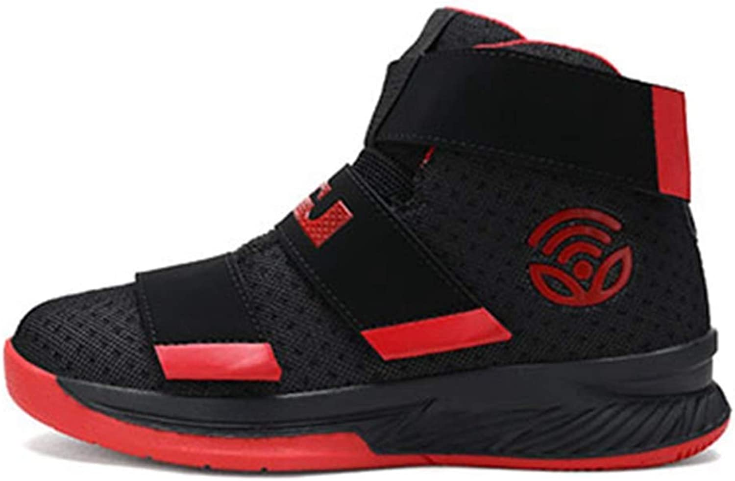 ZHRUI Men Basketball shoes High Top Sport Air Mesh Breathable Cushion Sneakers Outdoor Athletic Ankle Male Boots Trainers (color   Black red, Size   7=41 EU)