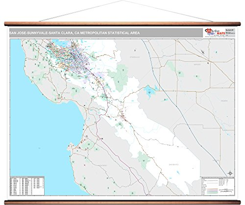MarketMAPS San Jose-Sunnyvale-Santa Clara, CA Metro Area Wall Map - 2018 - ZIP Codes - Laminated with Wooden Rails - 64 x 48 inches