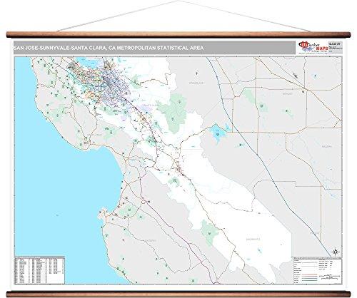 MarketMAPS San Jose-Sunnyvale-Santa Clara, CA Metro Area Wall Map - 2018 - ZIP Codes - Laminated with Wooden Rails - 64 x 48 inches