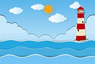 CSFOTO 5x3ft Background for Cartoon Lighthouse Sea Photography Backdrop Waving Sun Blue Sky White Cloud Sailing Party Decoration Child Kid Newborn Baby Portrait Photo Studio Props Wallpaper