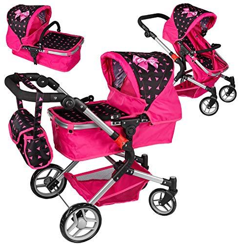 Puppenwagen Puppenwagen Babypuppenwagen KP0250R Kinderwagen Puppe Sportsitz NEU Puppenkar höhenverstellbar, zusammenklappbar, 4-rädriger Puppenwagen Kombi Tragetasche Babypuppenwagen