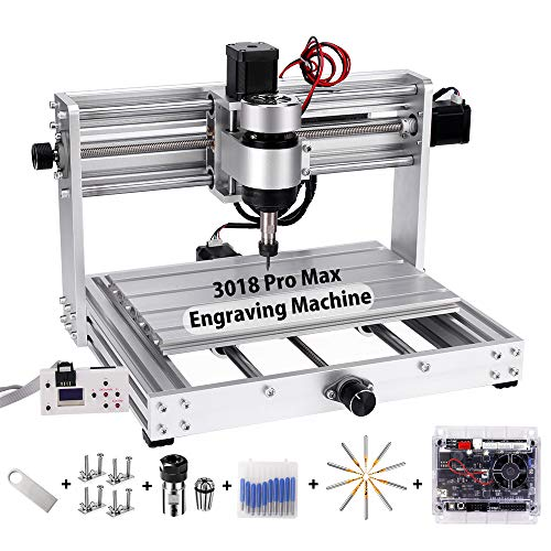 Máquina de grabado CNC 3018 Pro MAX con eje de 200 W, Yofuly All Frame de aluminio PCB de 3 ejes, fresadora de PVC con varilla de extensión ER11 Collet PCB juego de fresado con revestimiento de PCB
