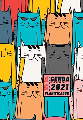 Agenda 2021 Planificador A5: Diseño de Portada de Gatos color - Bonitas Agendas con Planificador semanal y mensual - Pequeña y de bolsillo para ... eventos y fechas importantes a semana vista