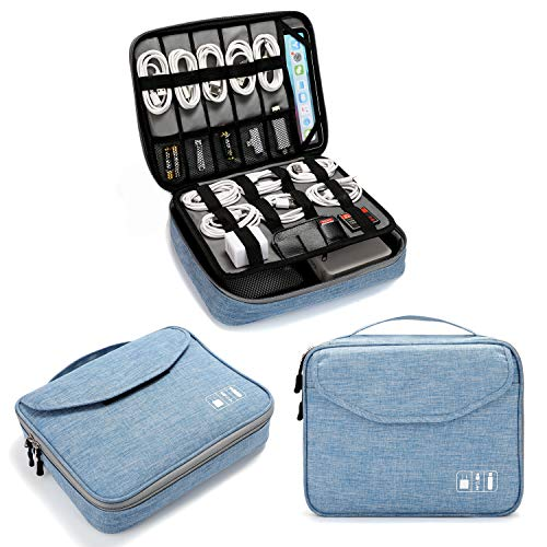 Electronics Organizer, Jelly Comb Electronic Accessories Double Layer Travel Cable Organizer Cord Storage Bag for Cables, iPad (Up to 11''),Power Bank, Hard Drive and More-(Wathet Blue)