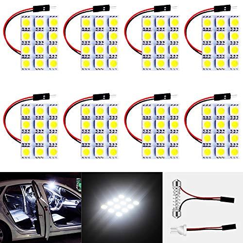 8-Pack White 150Lums 5050 12-SMD 12V DC LED per Rimorchio per Auto Camper RV Illuminazione Interna Pannello Cupola Lampada Mappa Tetto Plafoniera Lampadina con 8 X T10, Adattatore Festone