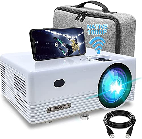 Proiettore WiFi Bluetooth Videoproiettore , 8000 Lumens Full HD Mini Videoproiettore Portatile 1080P Full HD Mini Proiettore Wireless Home Cinema Portatile per iOS Android Laptop TV Box PS4,5 PPT ecc