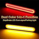 3-In-1 Dual Color Rainproof Rear Fender/Bagger Vertical Mount LED Rod Light Kit for Harley Davidson Motorcycles, Stop/Brake LED /Turn signal/Parking Light