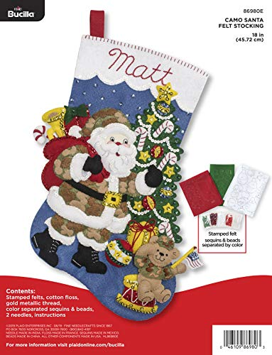 Bucilla Camo Santa Felt Applique Stocking Kit, 18 Inch
