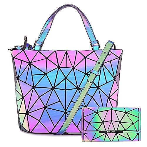 Hot One Färgändringar geometriska lysande plånböcker och handväskor holografisk handväska reflekterande handväska cross-bag (5# självlysande medium + knapp plånbokuppsättning)