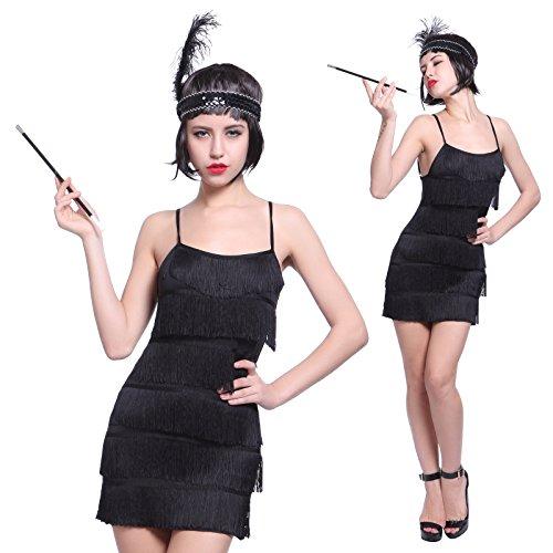 Maboobie - Disfraz de charlestón para Mujer Vestido con Flecos para Fiesta Carnaval Disfraces de los años 20 Flapper