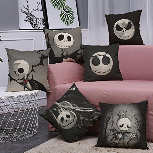 Pesadilla antes de Navidad Horror Cráneo 4 unidades, Home Decor algodón lino sofá funda de almohada Funda de cojín 18 x 18