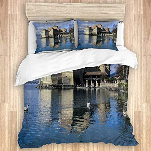 Funda nórdica, Castillo de Chillon, Suiza, Famoso Castillo Medieval escénico, Lago de...