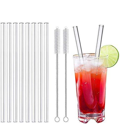 LessMo 8 Pcs Cannucce di vetro, 21.5 cm Cannucce riutilizzabili in vetro con 2 spazzole per frullato, frappè, cocktail e bevande calde(8P - 21.5cm x ø10mm - Tout droit)
