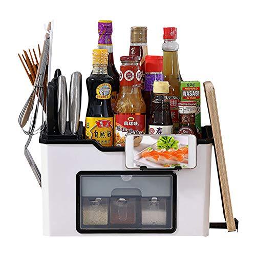 Witte kruidenhouder, kruidenrek, kruidenrek met messenhouder, snijplankhouder en mobiele telefoonhouder, voor keukenblad