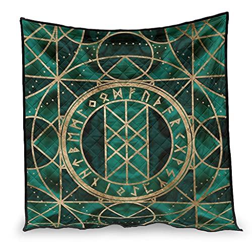 Vartanno - Trapunta estiva con rune vichinghe vichinghe di lusso, per divano letto, 230 x 260 cm, colore: Bianco