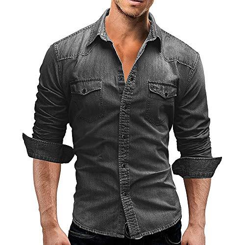 Camisa de Trabajo Casual de algodón Occidental con Botones de Manga Larga para Hombre (Grey,XL)