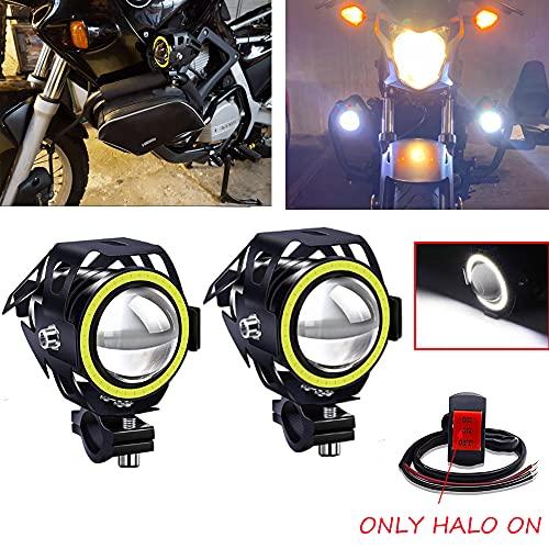 Biqing 2Pcs Faros Adicionales Moto,CREE U7 Faros Delanteros Moto Faros Auxiliares Antiniebla Focos LED Impermeable con Interruptor para Motocicletas Bicicletas Coches Camione