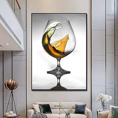 Impresión de lienzo Cartel abstracto nórdico imagen de copa de vino cuadro sobre lienzo para pared para decoración de cocina carteles e impresiones pintura para decoración de pared 20x32 pulgadas