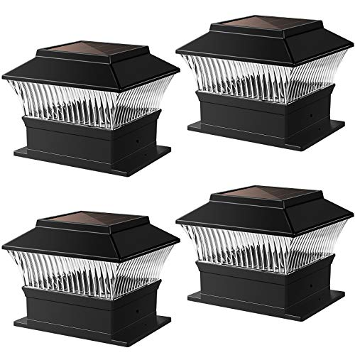 Solar Post Lights Outdoor Garden Waterproof LED Square Black Post Cap Lamp for 4x4 or 6x6 Wooden Posts, Deck, Patio, Fence (4 Pack)