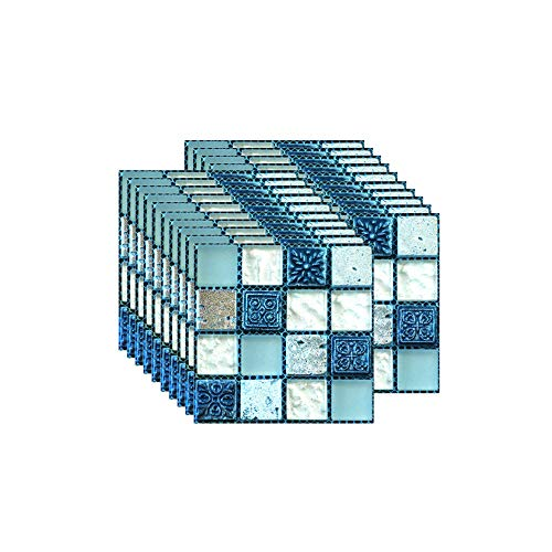 FBBULES 20PCS Fliesenaufkleber PVC, Fliesen Klebefolie Selbstklebend Hitzebeständig Wasserdicht Fliesensticker für Küche Fliesendekor Wandaufkleber Mosaikstil Blau (10 x 10 cm / 4 x 4 Zoll)