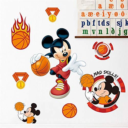 Greneric Mickey Play Basketball Sport Wall Sticker for Kids Room Home Decor Cartoon Wall Sticker PVC Mural Art DIY Poster
