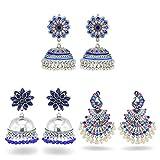 ZJL220 3 Paia Vintage Etnico Fiore di Pavone Design Blu Indiano Orecchini Pendenti Indiani Orecchini tribali ossidati Gioielli per Le Donne