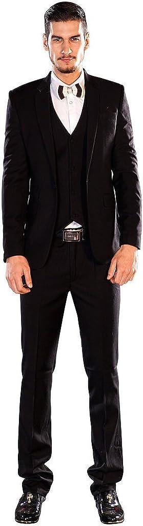 XoMoFlag Men's Wedding Single Breasted Suit Lapel Dinner Party Wear Black