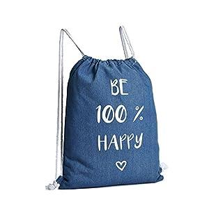 513mBuxaR9L. SS300  - 3 bolsas que pueden ser utilizadas como mochilas, de tela vaquera con frases impresas, tamaño 44 x 34 cm, 100% algodón, mochila de algodón