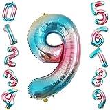Siumir Globo de Número Globo Digital Gigante 40 Pulgadas Arcoiris Gradient Papel De Aluminio Globo Decoración de Fiestas de Cumpleaños (Número 9)