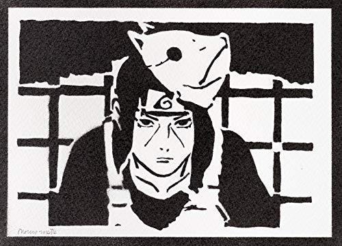 Poster Naruto Itachi Uchiha Grafiti Hecho a Mano - Handmade Street Art - Artwork