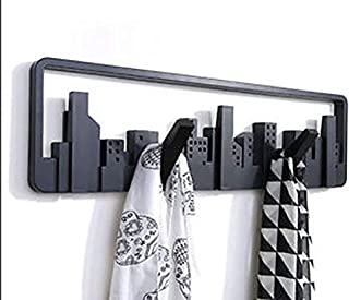 Simxen European Skyline Scalable Wall Shelf Hook Hangers for Clothes/Coat/Key Rings/Scarf/Stoles (Black)