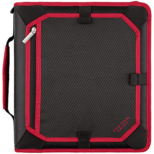 Five Star Zipper Binder, 2 Inch 3 Ring Binder, Expansion Panel, Durable, Black/Red/Gray (29052BE7)