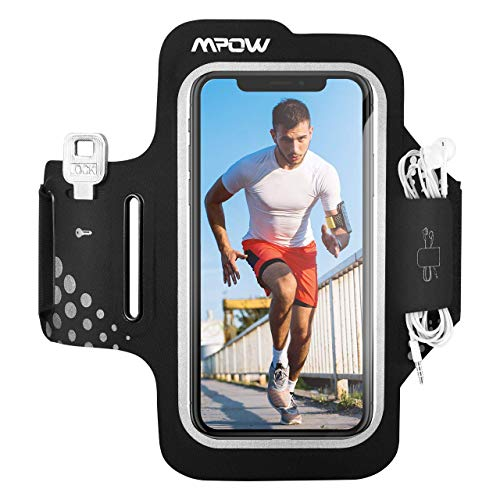Mpow Fascia da Braccio Portacellulare per Correre, Sweatproof Porta Cellulare Braccio per iPhone 11 Pro/11/XR/XS/X/8/7, Galaxy S9/S8/S7, con Tasca per Chiave e per Carte (Per 4.7''-6.2'')