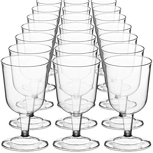 DecorRack copas de vino de 6 onzas, sin BPA, vasos de vino de fiesta de plástico, perfecto para fiestas al aire libre, bodas, picnics, apilables, reutilizables, desechables, copas de vino transparente