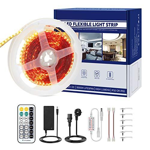 Chesbung Striscia LED 5m,Kit luci strip LED, luce bianca calda, 12 V, con 900 LED, 2835 SMD, nastro flessibile, ideale per soffitto, decorazione, cucina, interni ecc