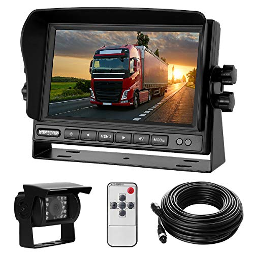 Backup Camera System Kit 7' LCD Reversing Monitor+170 ° Wide Angle, 18 IR Night Vision,IP68 Waterproof Rear View Back Up Camera for Truck/RV/Trailer/Bus/Vans/Vehicle.
