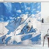 ABAKUHAUS Montaña Cortina de Baño, Snowy Mountain Ski, Material Resistente al Agua Durable Estampa Digital, 175 x 180 cm, Blanco Azul