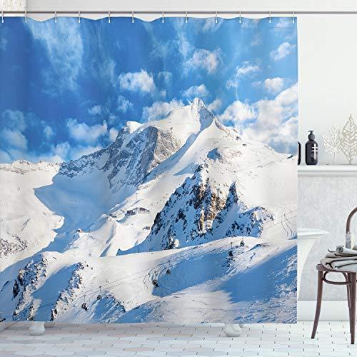 ABAKUHAUS Winter Duschvorhang, Snowy Mountain Ski, mit 12 Ringe Set Wasserdicht Stielvoll Modern Farbfest & Schimmel Resistent, 175x200 cm, Weiß Blau