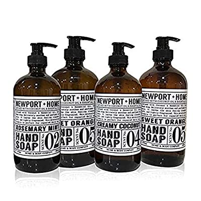 Newport Home Hand Soap Collection 16 FL/473ml Infused with Coconut Essential Oils, Rosemary Mint, Creamy Coconut & Sweet Orange (Set of 4)