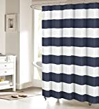 Nautical Stripe Design Fabric Shower Curtain Curtains - Navy and White 72' x 96'