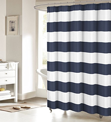 "Fabric Shower Curtain: Nautical Stripe Design (Navy and White) 70"" W x 72"" L"