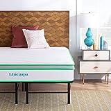 Linenspa 10 Inch Latex Hybrid Mattress with Linenspa 14 Inch Folding Platform Bed Frame - Full