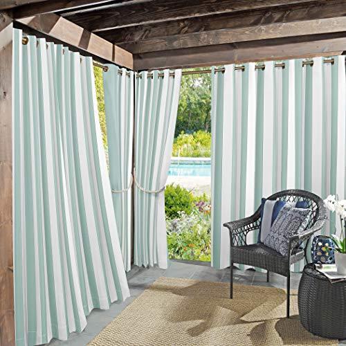 Sun Zero Valencia Cabana Stripe Interior / Exterior UV Protector de Ojales, 137 x 213 cm, Suave Verde Azulado