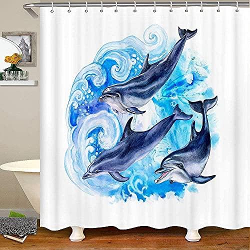 Dolphin Fabric Shower Curtains 72' W X 72' L Ocean Dolphin Family Bath Curtain Hawaiian Tie Dye Shower Curtain