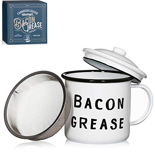 """Bacon Grease Container white enamel, 4"""" with lid"""